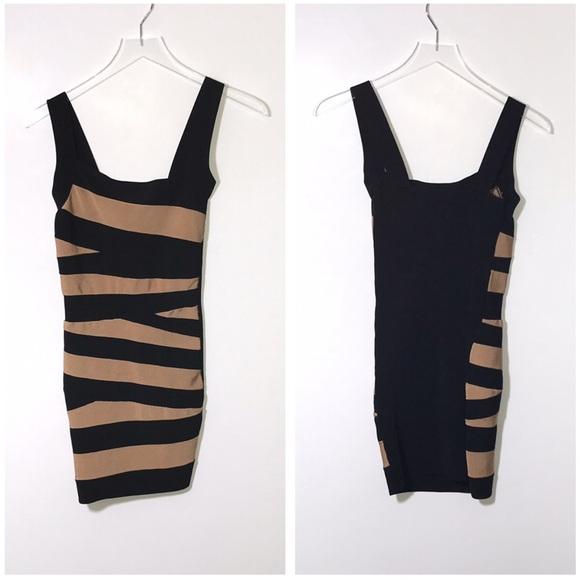bebe Dresses & Skirts - Bebe Striped Bandage Sleeveless Dress Black Brown